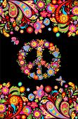 T shirt design on black background with colorful floral seamless border and hippie peace flowers sym poster