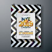 2018 New Year Party Celebration Poster Template Illustration With Shiny Gold Number On Abstract Blac poster