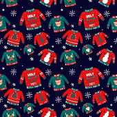 Vector Pattern For Holiday Events As Ugly Christmas Sweater Party.hand Drawn Illustration Can Be Use poster