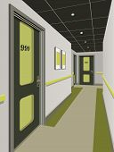 Long Corridor With Rows Of Closed Doors. Concept Of Infinite Opportunities For Success And Toughness poster