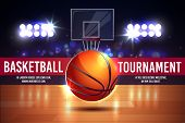 Vector Cartoon Ad Poster, Banner With Basketball Tournament - Shining Ball On A Court. Sports Arena  poster