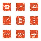 Scientific Progress Icons Set. Grunge Set Of 9 Scientific Progress Vector Icons For Web Isolated On  poster