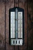 Ancient Thermometer On Wooden Background, 26 Degrees Celsius poster
