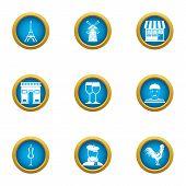 Paris City Icons Set. Flat Set Of 9 Paris City Vector Icons For Web Isolated On White Background poster