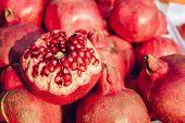 Close Up Half Of Pomegranate, Close Up Pomegranate Background poster