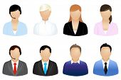 Set Of Business People Icons, Isolated On White