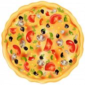 Freshly Baked Pizza With Mushrooms, Tomatoes, Olives And Peppers, Isolated On White