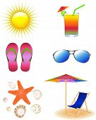 Vector Beach Set From Chaise Lounge, Sunglasses, Beach  Umbrella, Sea Animals, Beach Footwear And  S