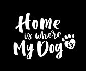 Typographical Poster About Dog Love. Vector Motivational Lettering Home Is Where My Dog. Dog Adoptio poster