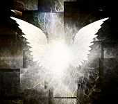 White Wings. Abstract spiritual painting. 3D rendering poster