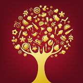 Gold Tree Made Of Products And Subjects Of Restaurant Icons, Vector Illustration