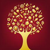 Árbol de oro hecho de productos y temas de iconos de restaurante, Vector Illustration
