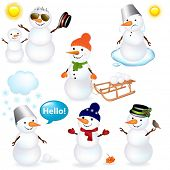 7 Cartoon Schneemann, isolated on white Background, Vector illustration