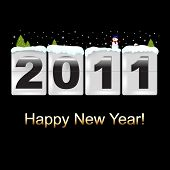 New Year Counter With Snowman, On Black Background, Vector Illustration