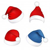 4 Hats Santa Claus, Isolated On White Background, Vector Illustration