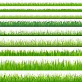 9 Backgrounds Of Green Grass, Isolated On White Background