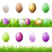 8 Easter-Eggs, Eggs In Grass And Grass Panorama, Isolated On White Background, Vector Illustration
