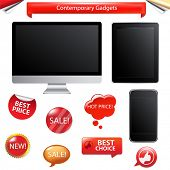 3 Contemporary Gadgets - Computer, Fictitious Touch Tablet And Phone, Isolated On White Background,