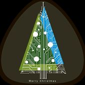 Vector Illustration Of Futuristic Evergreen Christmas Tree, Technology And Science Conceptual Design poster
