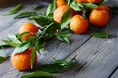 Tangerines (oranges, Mandarins, Clementines, Citrus Fruits) With Leaves In Basket On Gray Background poster