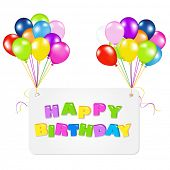 stock photo of happy birthday  - Birthday Card With Balloons - JPG
