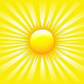 Bright Sunburst With Beams, Vector Illustration