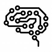 Future Brain Icon. Outline Future Brain Icon For Web Design Isolated On White Background poster