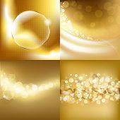 4 Gold Backgrounds, Vector Illustration