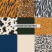 Seamless Leather, Fur Textures Pattern Set. Luxury Leather Textures - Print Background. Animal Safar poster