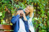 Love Relations Romantic Feelings. Surprise For Him. Romantic Concept. Man Wait Girlfriend. Park Best poster