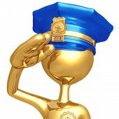 Golden Police Officer Salute