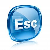 Esc Icon Blue Glass, Isolated On White Background
