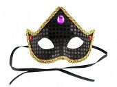 Black carnival mask isolated on a white                                   background