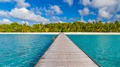 Perfect Maldives Scene, Long Wooden Jetty In Tropical Island. Beach Landscape With Palm Trees And In poster