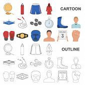 Boxing Extreme Sports Cartoon Icons In Set Collection For Design. Boxer And Attributes Vector Symbol poster