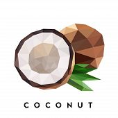 Coconut. Vector Illustration Of Tropical And Subtropical Fruit In Low Poly Style. The Image Can Be U poster