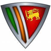 Steel shield with flag Sri Lanka