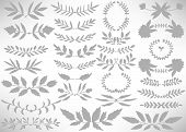 Big Floral Set Of Gray Hand Drawn Dividers, Laurel Wreaths, Leaves, Flowers, Branches Isolated On Wh poster
