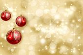 stock photo of christmas ornament  - Red Christmas ornaments on a gold background de - JPG