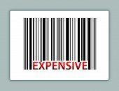 expensive barcode illustration design on a label