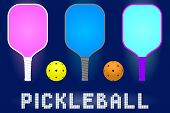 Pickleball Paddle Rackets And Balls. Set Of Sport Equipment For Hobby Game In Modern Color. Stock Ve poster
