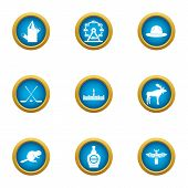 Canada Peace Icons Set. Flat Set Of 9 Canada Peace Vector Icons For Web Isolated On White Background poster