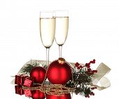 pic of red wine  - Two glasses with christmas decoration on white background - JPG