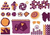 vector grunge and modern design elements in yellow and purple