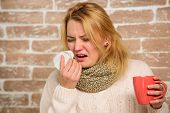 Girl In Scarf Hold Tea Mug And Tissue. Cold And Flu Remedies. Runny Nose And Other Symptoms Of Cold. poster