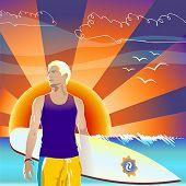 Vector illustration of trendy surfer against sunset ocean background
