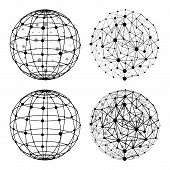 Wireframe Sphere With Dots Set Vector Illustration. Mesh Polygonal Globe Structure. Global Network C poster