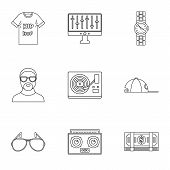 Gangsta Rap Icon Set. Outline Set Of 9 Gangsta Rap Vector Icons For Web Design Isolated On White Bac poster