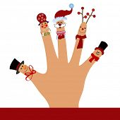 Silly puppet  hand waving  - christmas theme