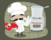 Chef cooking a lobster.